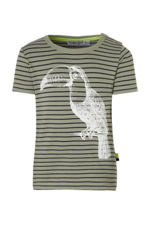 gestreept T-shirt olijfgroen/wit/zwart