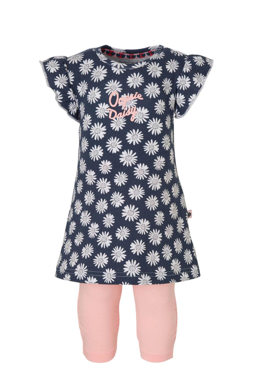 Dirkje tweedelige set jurk en legging, Marine/lichtroze