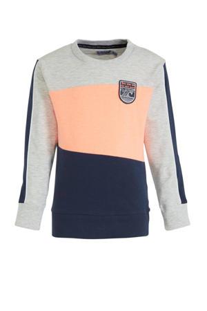 sweater lichtgrijs melange/donkerblauw/zalm