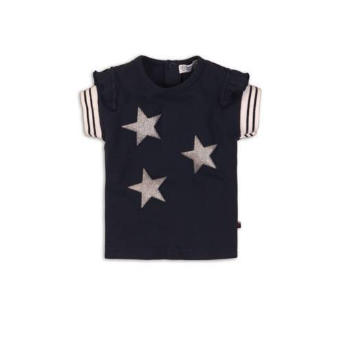 Dirkje T-shirt met sterren en glitters marine
