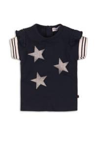 Dirkje T-shirt met sterren en glitters marine, Marine