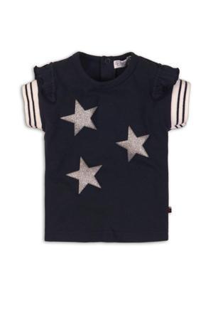 T-shirt met sterren en glitters marine