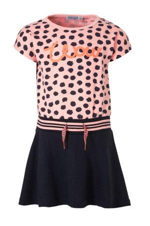 jersey jurk met stippen roze/donkerblauw