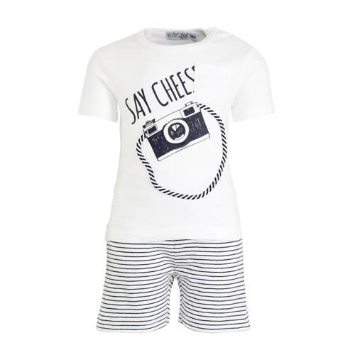 Dirkje T-shirt + broek wit/donkerblauw