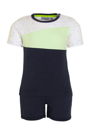 tweedelige set kortebroek en T-shirt donkerblauw/mintgroen/wit