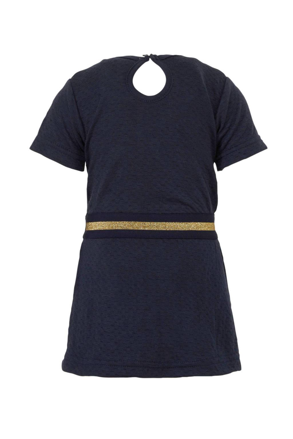 Dirkje jersey jurk met borduursels marine/goud, Marine/goud
