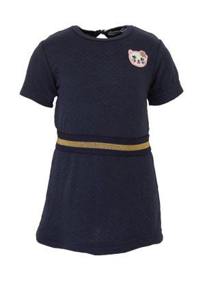 jersey jurk met borduursels marine/goud