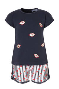 Dirkje tweedelige set T-shirt + broek, Marine/wit/rood