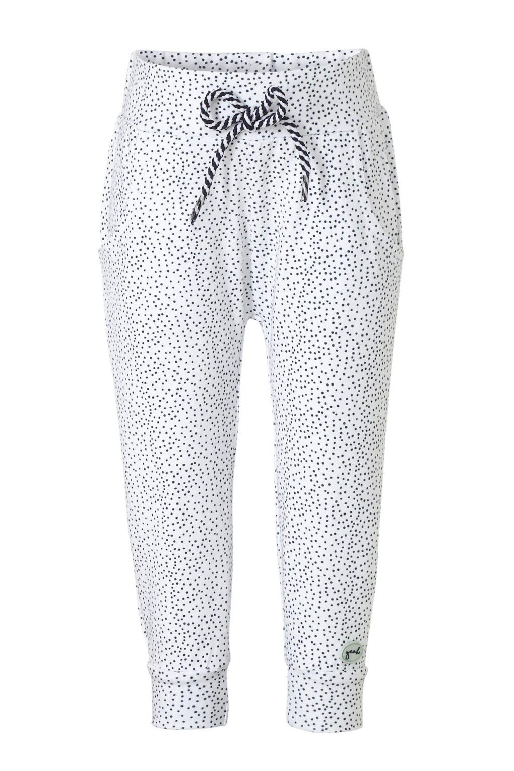 Dirkje high waist broek met stippen wit/zwart, Wit/zwart