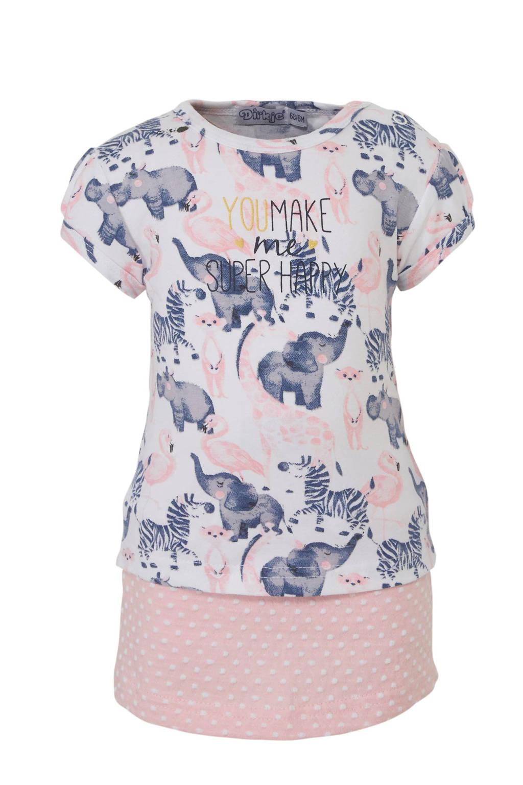 Dirkje jersey jurk met dierenprint lichtroze/wit, Lichtroze/wit