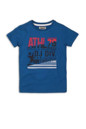 T-shirt met printopdruk blauw/zwart/rood
