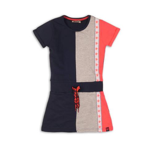 DJ Dutchjeans jersey jurk met contrastbies donkerb