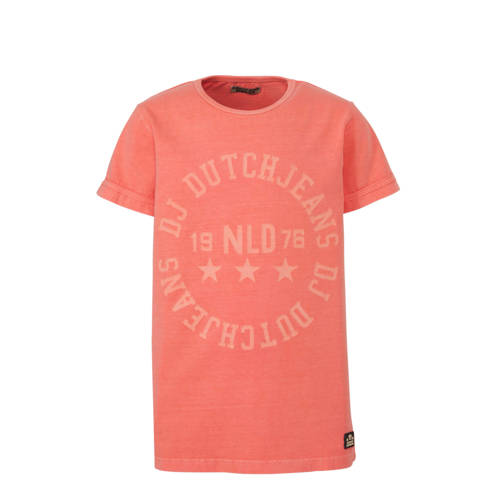 DJ Dutchjeans T-shirt met tekst oranje