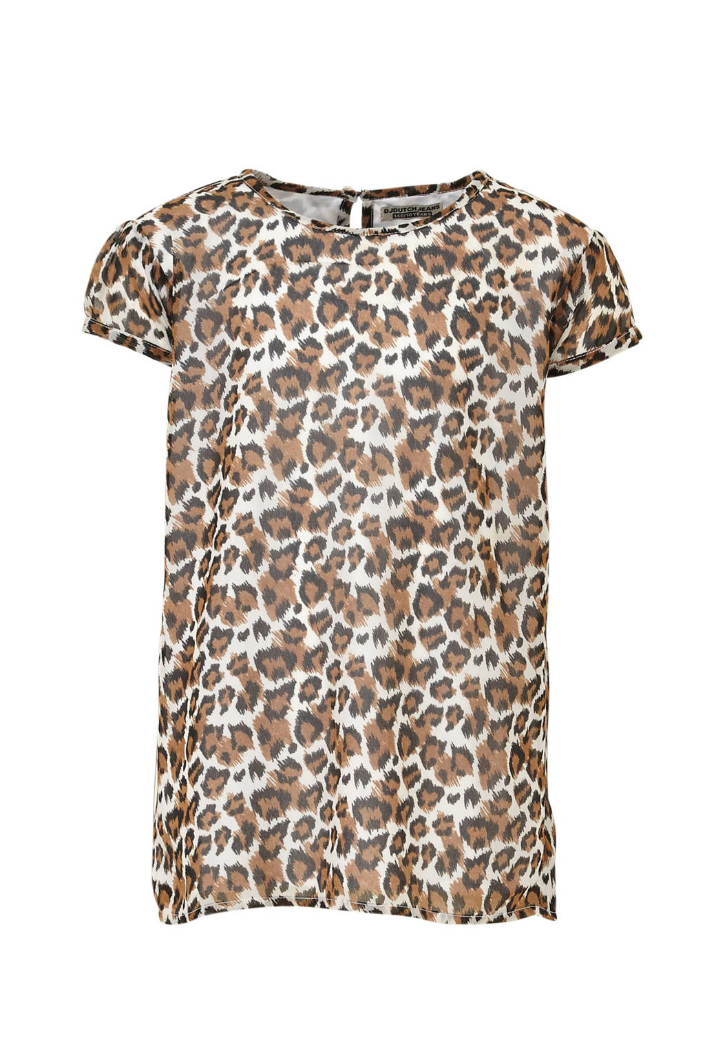 DJ Dutchjeans T-shirt met dierenprint bruin/wit/zwart, Bruin/wit/zwart