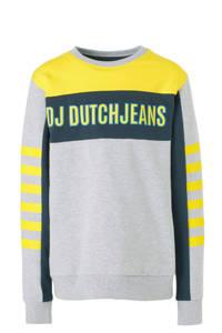 DJ Dutchjeans sweater met printopdruk grijs melange/geel/donkerblauw, Grijs melange/geel/donkerblauw