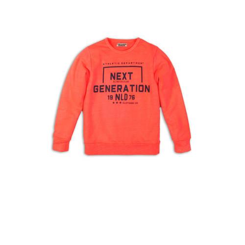 DJ Dutchjeans sweater met printopdruk koraalrood/z