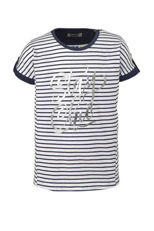 gestreept T-shirt wit/marine/ziver