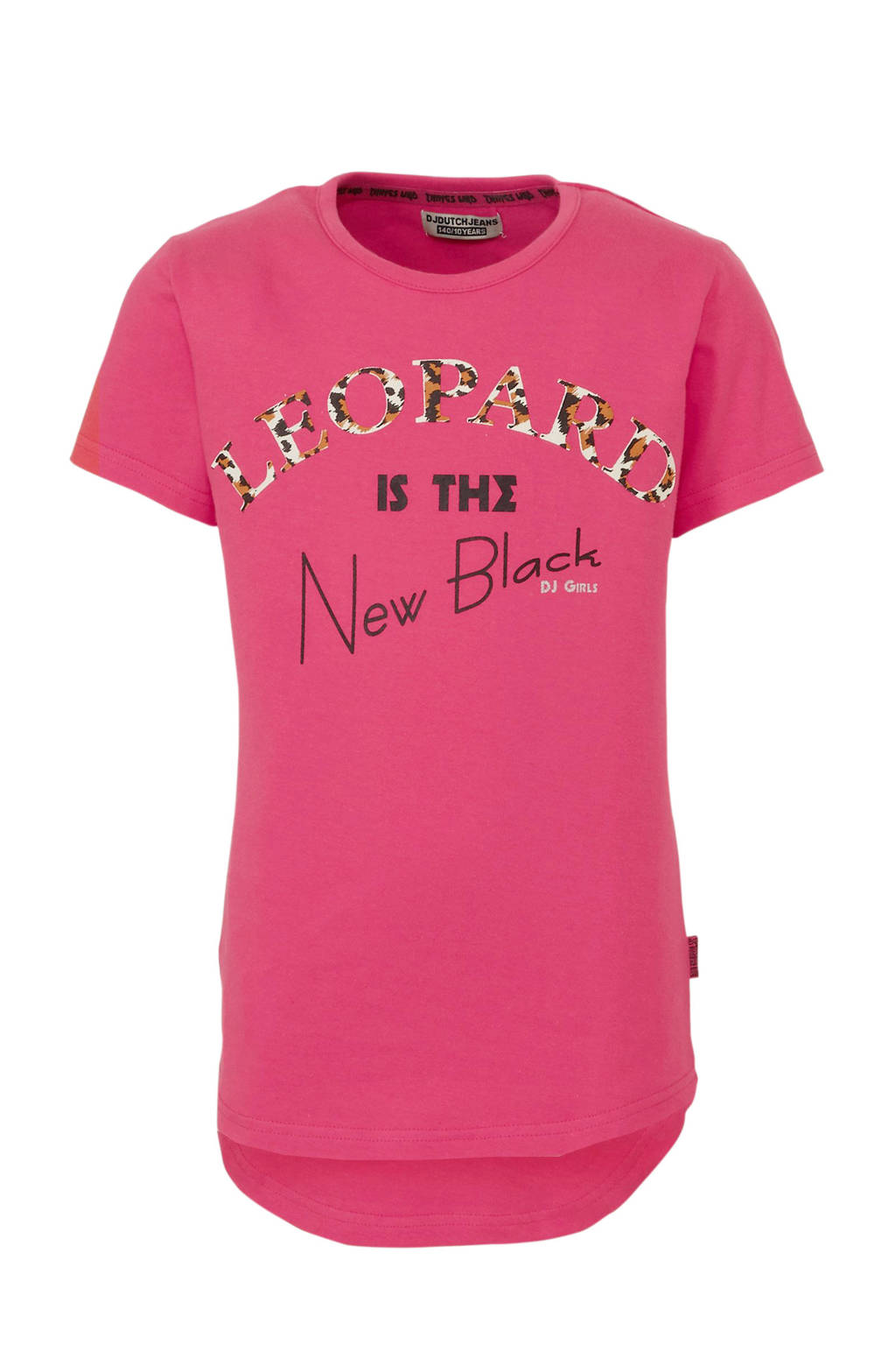 DJ Dutchjeans T-shirt met tekst roze/zwart/bruin, Roze/zwart/bruin
