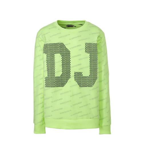 DJ Dutchjeans longsleeve met tekst neon geel/zwart