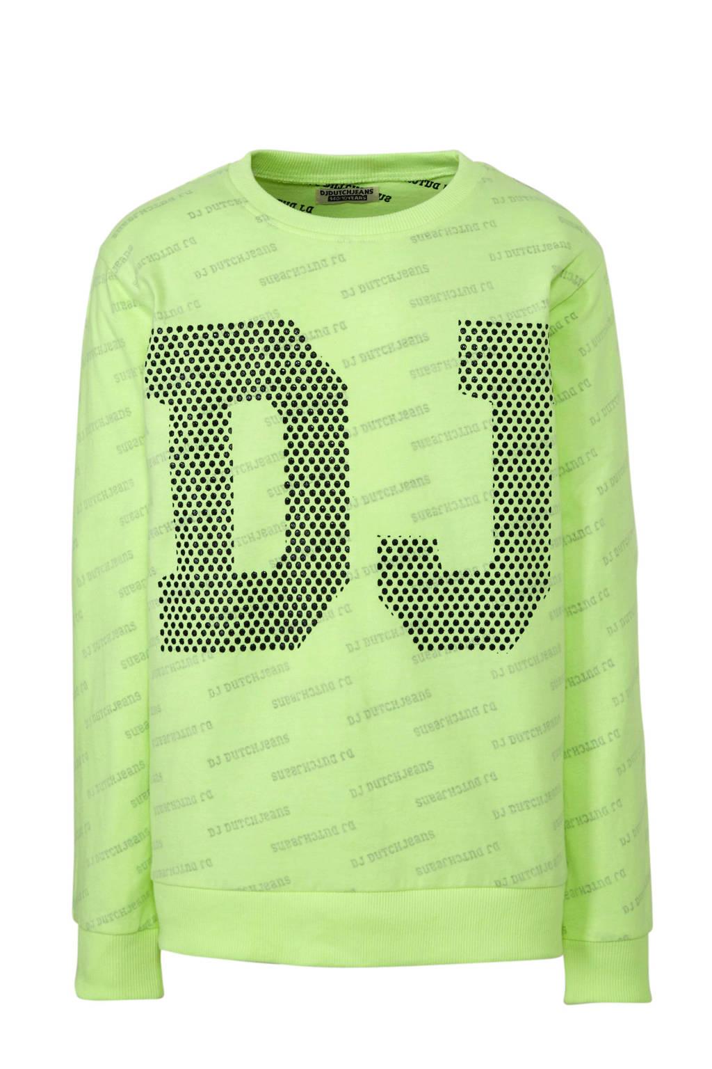 DJ Dutchjeans longsleeve met tekst neon geel/zwart, Neon geel/zwart