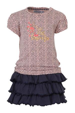 jersey jurk met stippen en ruches marine/lichtroze