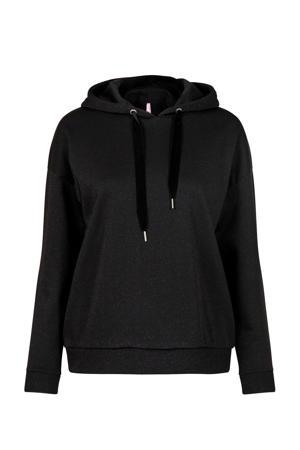 Regulier hoodie met glitters zwart