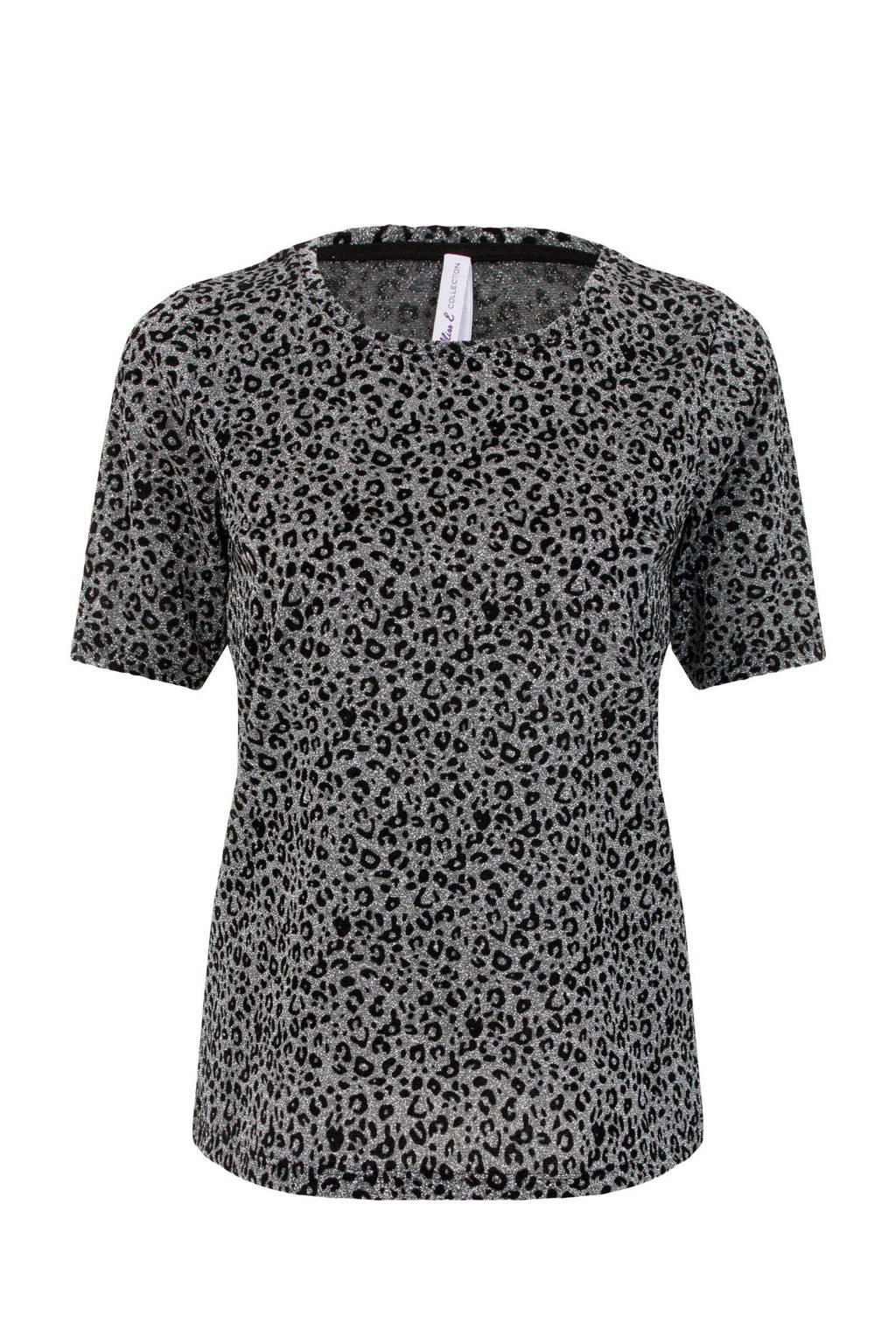 Miss Etam Regulier T-shirt met panterprint en glitters zilver/zwart, Zilver/zwart