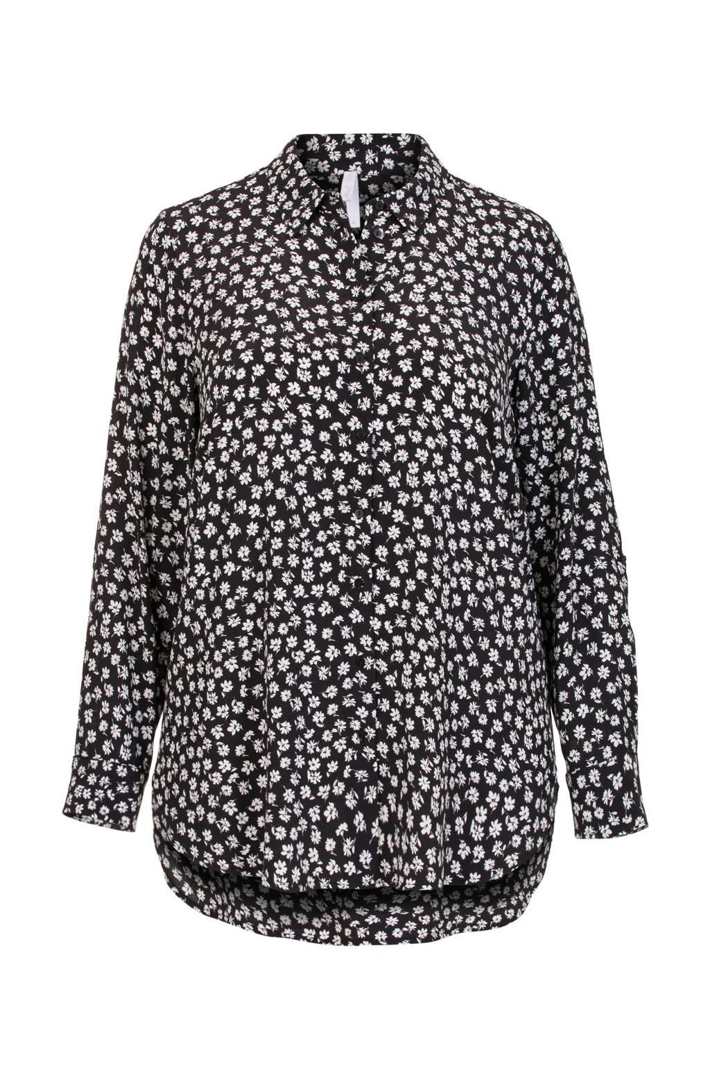 Miss Etam Plus blouse met all over print zwart, Zwart