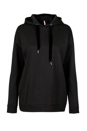 Lang hoodie met glitters zwart