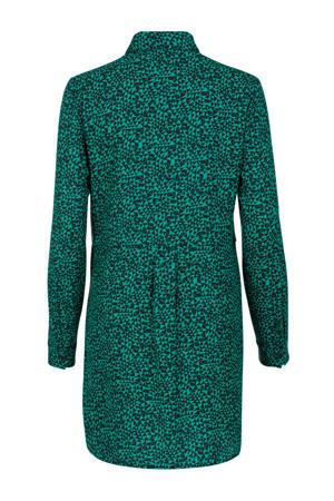 Regulier blouse met all over print en plooien groen/zwart