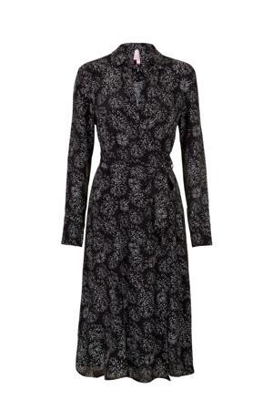 Regulier maxi jurk met all over print en plooien zwart/wit