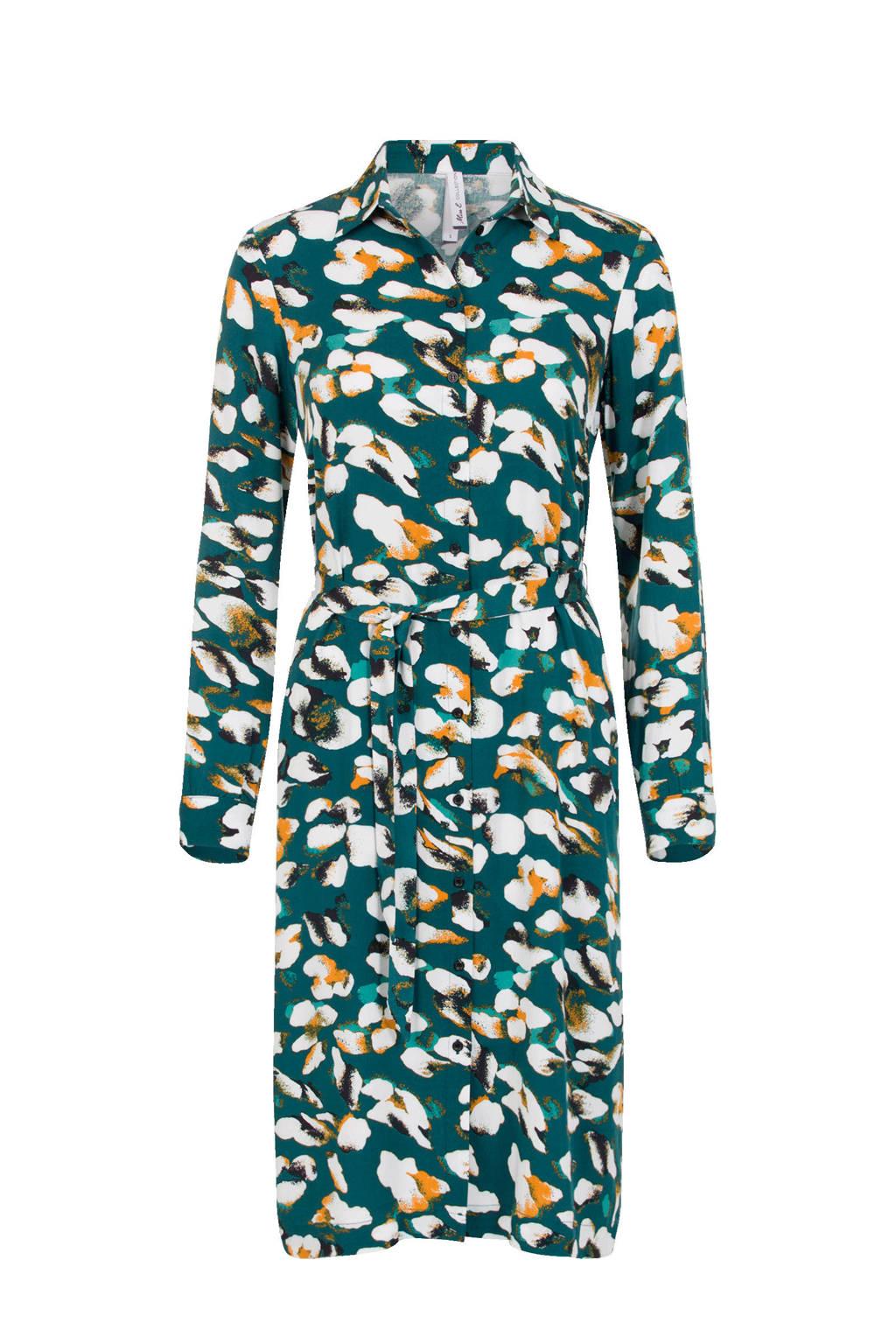 Miss Etam Regulier blousejurk met all over print en ceintuur groen/geel/wit, Groen/geel/wit