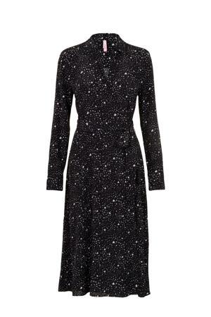 Regulier maxi jurk met sterren en plooien zwart/wit