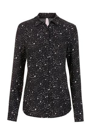 Lang blouse met contrastbies zwart/wit