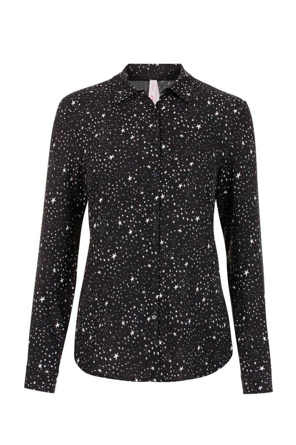 Miss Etam Regulier blouse met contrastbies zwart/wit, Zwart/wit