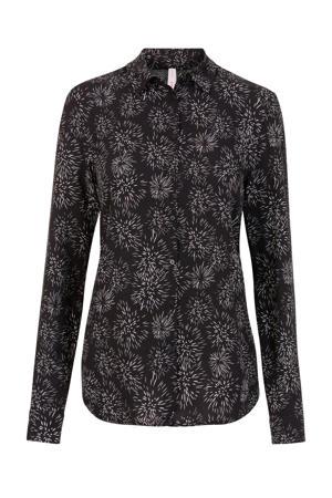Lang blouse met all over print zwart/wit