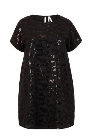 Plus jurk met pailletten zwart