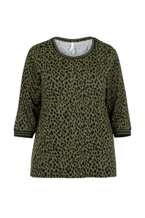 Plus top met all over print groen/zwart