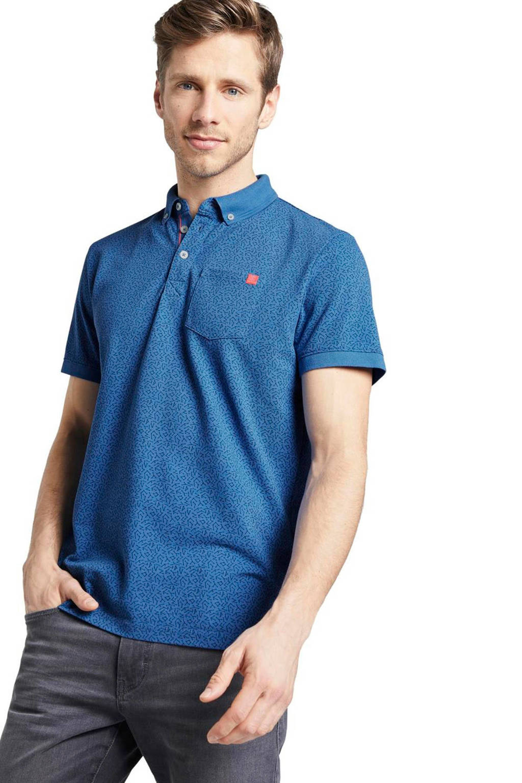 Tom Tailor regular fit polo met all over print blauw, Blauw