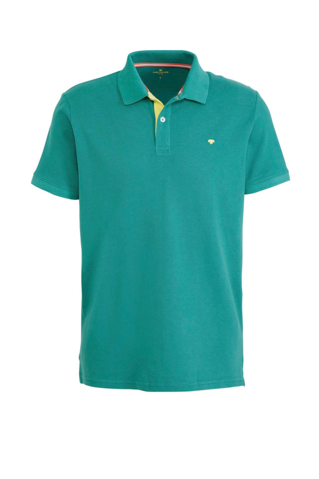 Tom Tailor regular fit polo met logo groen, Groen