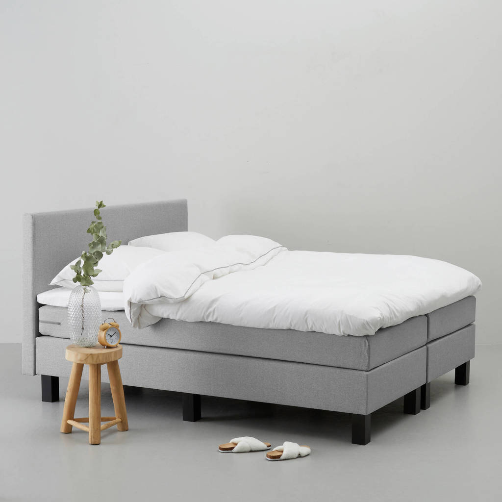 whkmp's own complete boxspring Seattle (180x210 cm), Lichtgrijs