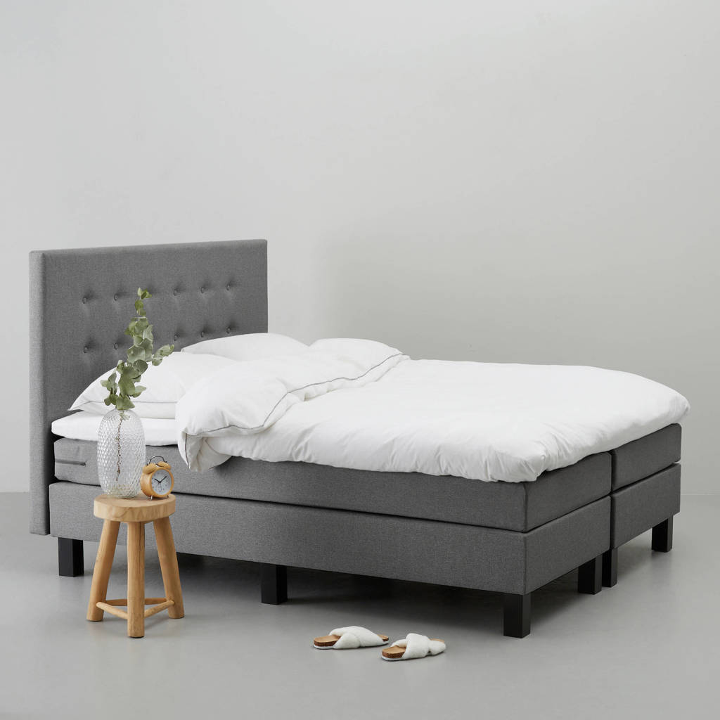 whkmp's own complete boxspring Durham (140x200 cm), Grijs