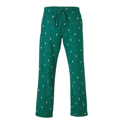 GAP flanellen pyjamabroek met pinguin print groen