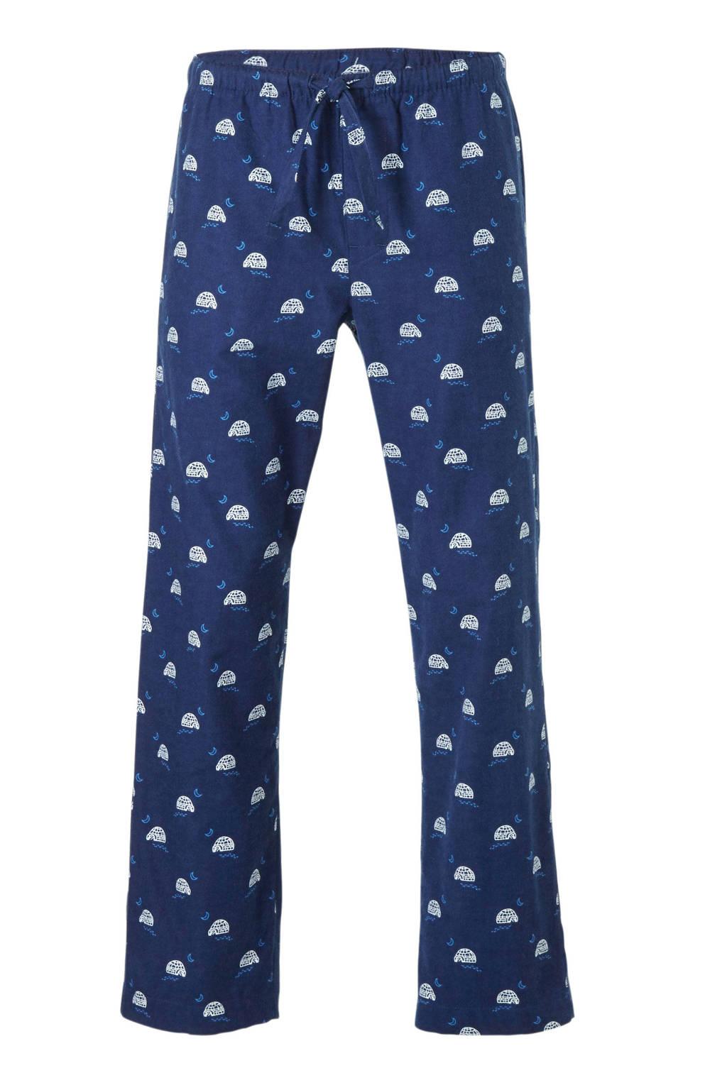 GAP flanellen pyjamabroek met iglo print donkerblauw, Donkerblauw
