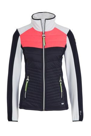 outdoor jack Annila donkerblauw/roze/wit