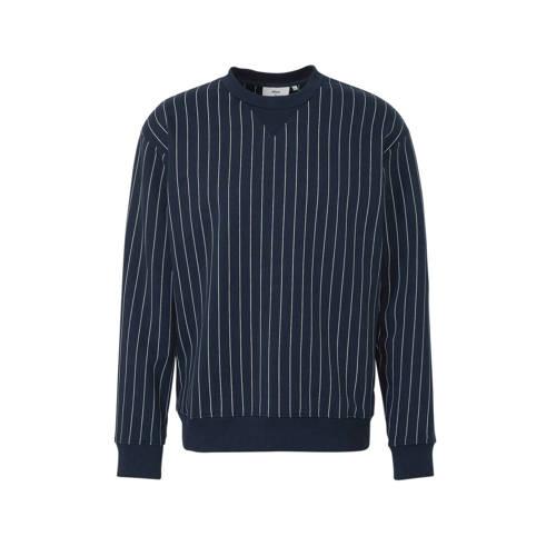 Minimum gestreepte sweater donkerblauw