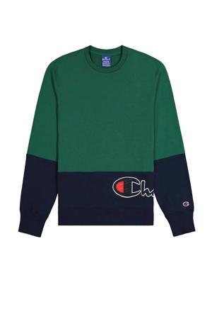 sweater grijs groen/donkerblauw