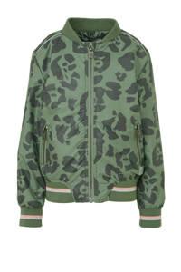 Quapi bomberjack Aubine met panterprint groen/antraciet, Groen/antraciet
