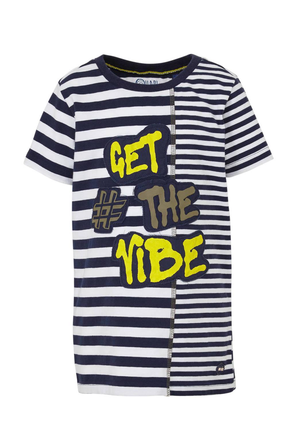 Quapi gestreept T-shirt Aaron donkerblauw/wit/geel, Donkerblauw/wit/geel
