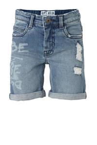 Quapi regular fit jeans bermuda August met printopdruk en slijtage stonewash, Stonewash